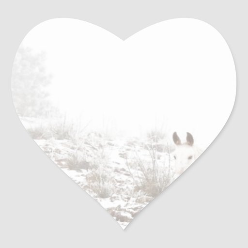 Horse with Winter Season Snow and Fog Heart Stickers