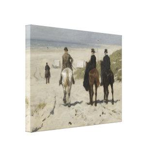 Horseback Ride along the Beach- Art Canvas Canvas Print