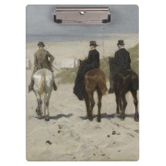 Horseback Ride along the Beach - Art Clipboard