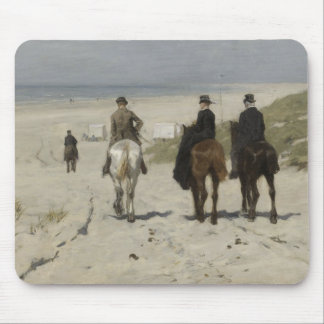 Horseback Ride along the Beach - Art Mousepad