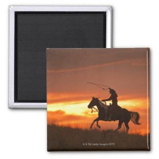Horseback rider 11 square magnet