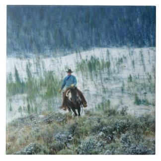 Horseback rider 4 large square tile