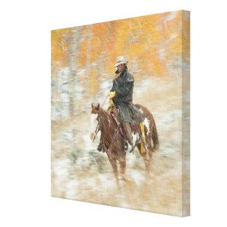Horseback rider in rain canvas print