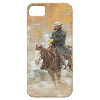 Horseback rider in rain iPhone 5 case