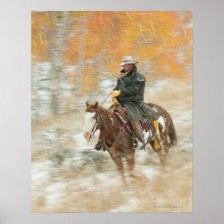 Horseback rider in rain print