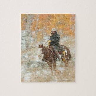 Horseback rider in rain puzzle