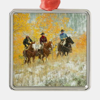 Horseback riders 7 Silver-Colored square decoration