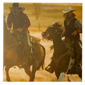 Horseback riders large square tile