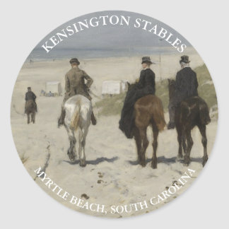 Horseback riding along the beach | Personalised Round Sticker