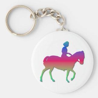 Horseback riding basic round button key ring