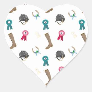 Horseback Riding in a modern style Heart Sticker
