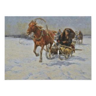 Horsedrawn Sleigh in Poland 14 Cm X 19 Cm Invitation Card