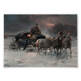 Horsedrawn Wagon at Night Poster