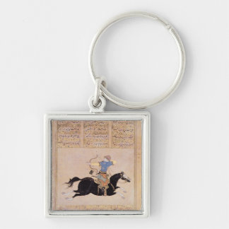 Horseman drawing his bow Silver-Colored square key ring