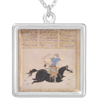 Horseman drawing his bow silver plated necklace