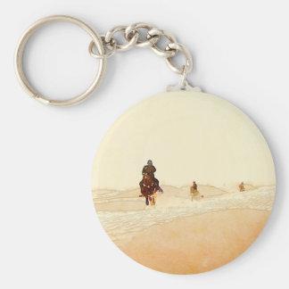 horseman in desert keychain