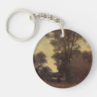 Horseman in the Forest by Camille Pissarro Acrylic Keychain