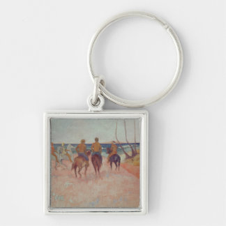 Horseman on the Beach  1902 Silver-Colored Square Key Ring
