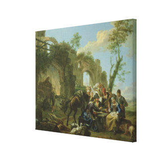Horsemen Resting among Classical Ruins with a Fort Gallery Wrap Canvas