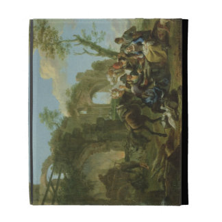 Horsemen Resting among Classical Ruins with a Fort iPad Folio Cover