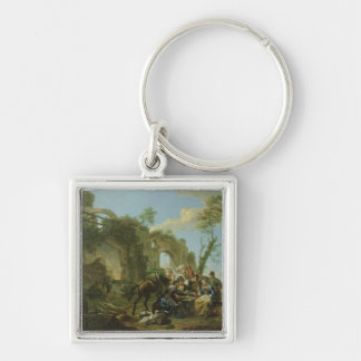 Horsemen Resting among Classical Ruins with a Fort Silver-Colored Square Key Ring