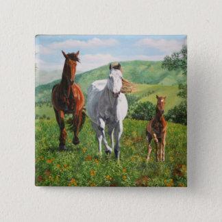 horses 15 cm square badge