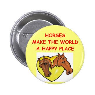horses 6 cm round badge