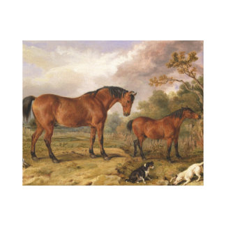 Horses and dogs painting on canvas for decoration gallery wrap canvas