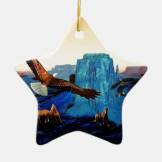 Horses and Eagles in the Grand Canyon Ceramic Star Decoration