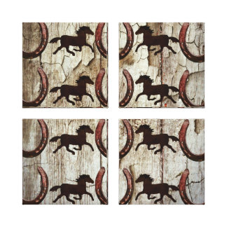 Horses and Horseshoes on Barn Wood Cowboy Gifts Stretched Canvas Prints