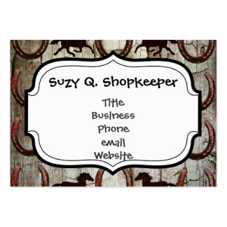 Horses and Horseshoes on Barn Wood Cowboy Gifts Pack Of Chubby Business Cards