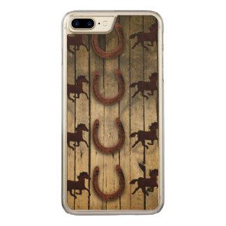 Horses and Horseshoes on Wood  backround Carved iPhone 8 Plus/7 Plus Case