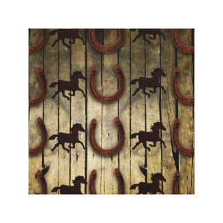 Horses and Horseshoes on Wood  backround Gifts Canvas Print