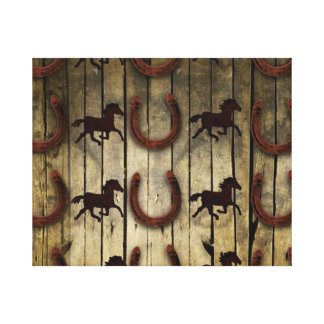 Horses and Horseshoes on Wood  backround Gifts Canvas Prints