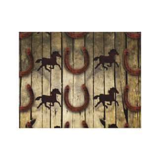 Horses and Horseshoes on Wood  backround Gifts Gallery Wrap Canvas