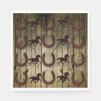 Horses and Horseshoes on Wood  backround Gifts Paper Serviettes