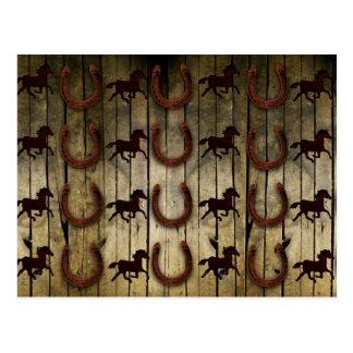 Horses and Horseshoes on Wood  backround Gifts Postcard