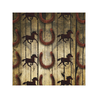 Horses and Horseshoes on Wood  backround Gifts Stretched Canvas Print