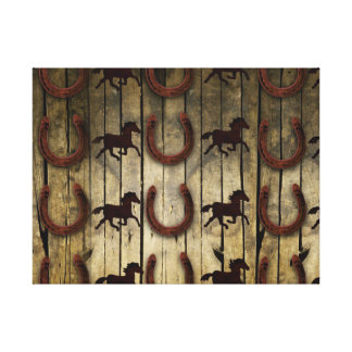 Horses and Horseshoes on Wood  backround Gifts Stretched Canvas Prints