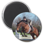Horses and Show Jumping Round Magnet Fridge Magnet