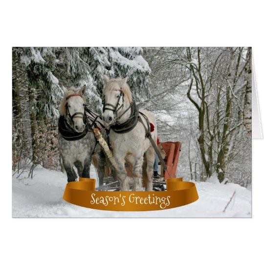 Horses and Sleigh Snowy Christmas Card