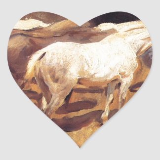 Horses at Palma by John Singer Sargent Heart Sticker
