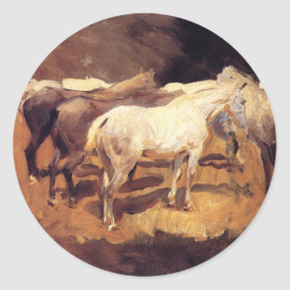 Horses at Palma by John Singer Sargent Round Sticker