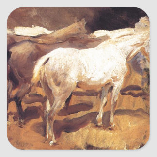 Horses at Palma by John Singer Sargent Square Sticker