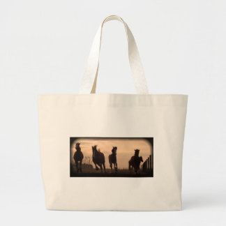 horses at sunset landscape large tote bag