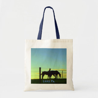 Horses at Sunset. Lititz Pa. Tote Bag. (Plain) Budget Tote Bag