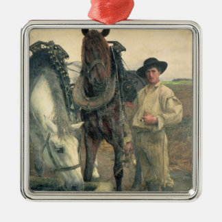 Horses at the Water Trough, 1884 (oil on canvas) Christmas Ornament