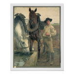 Horses at the Water Trough, 1884 (oil on canvas) Poster