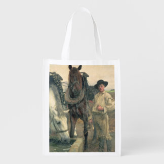 Horses at the Water Trough 1884 oil on canvas Reusable Grocery Bags
