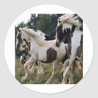 HORSES BLACK AND WHITE 1.PNG ROUND STICKER